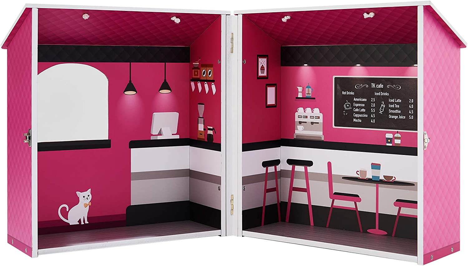 """Teamson Kids - Dreamland City Café Wooden Pretend Play Toys Dollhouse with Furniture for 12"""" Dolls - Pink"""
