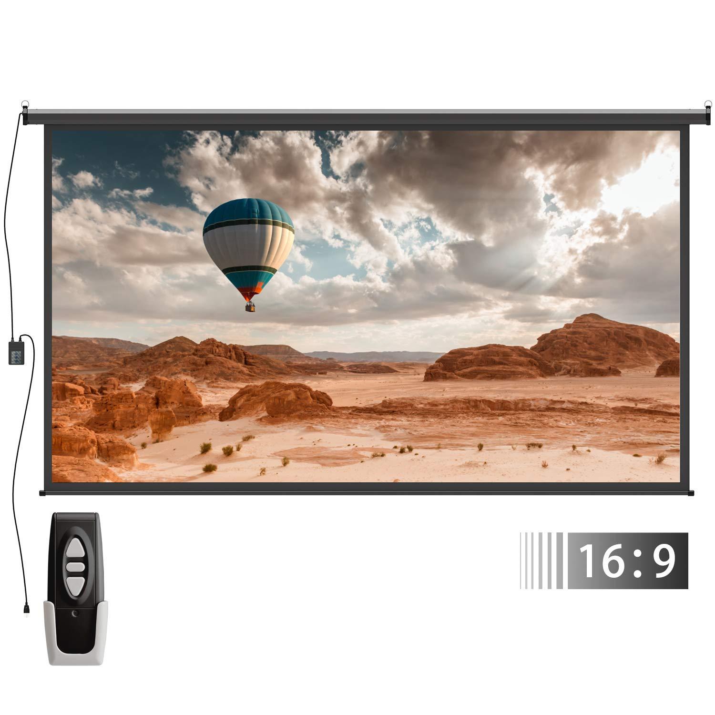 Electric Motorized Auto Projector Screen – FEZIBO 100 inch Diagonal Auto with Remote Control 16:9 HD Electric Motorized Drop Down Projection Screen