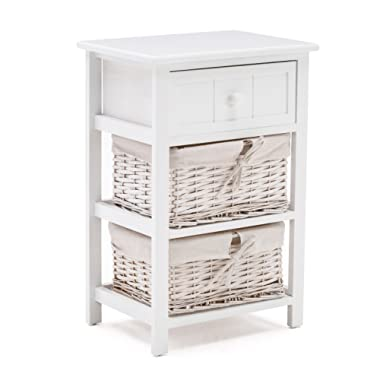 Mecor Nightstand/End Tables/Side Tables - 3-Drawer - Fully Assembled - Paulownia Wood - for Bedroom,Include 1 Drawer and 2 Wicker Baskets,White