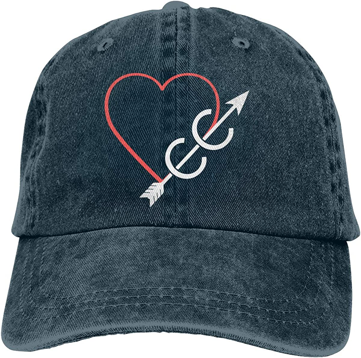 Heart and Cross Country Unisex Adult Cowboy Hat Hip Hop Cap Adjustable Truck Driver Hat