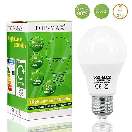 Pack de 10 Bombillas LED Edison E27 de 10 W de ahorro de energía 60 W bombillas incandescentes equivalentes a bombillas no regulables 3000 K luz blanca ...