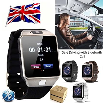 GoBuy® DZ09 Reloj inteligente con Bluetooth, ranura para tarjeta SIM, podómetro, hace llamadas de teléfono, ...