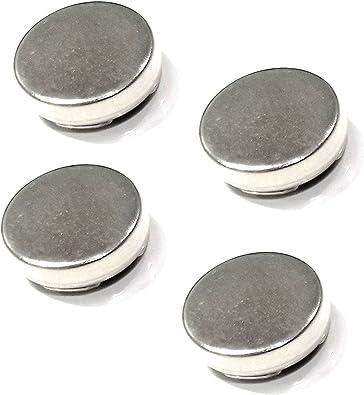4 grande plateado botón cubre uso como Gemelos para camisas con botones 18 mm: Amazon.es: Joyería