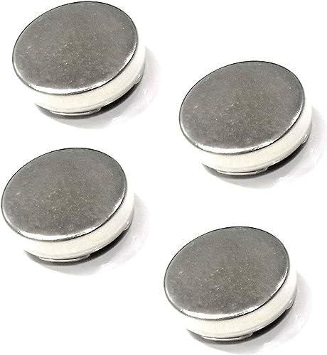 4 grande plateado botón cubre uso como Gemelos para camisas con botones 18 mm