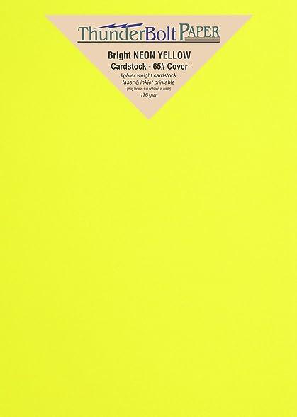 .com : 125 bright neon yellow fluorescent color cardstock - 5 ...