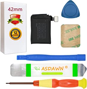 A1875 Battery for 42mm Apple Watch Series 3 Replacement A1850 (GPS Version + LTE Cellular Version) with Repair Tools + Back Cover Adhesive + Installation Instruction