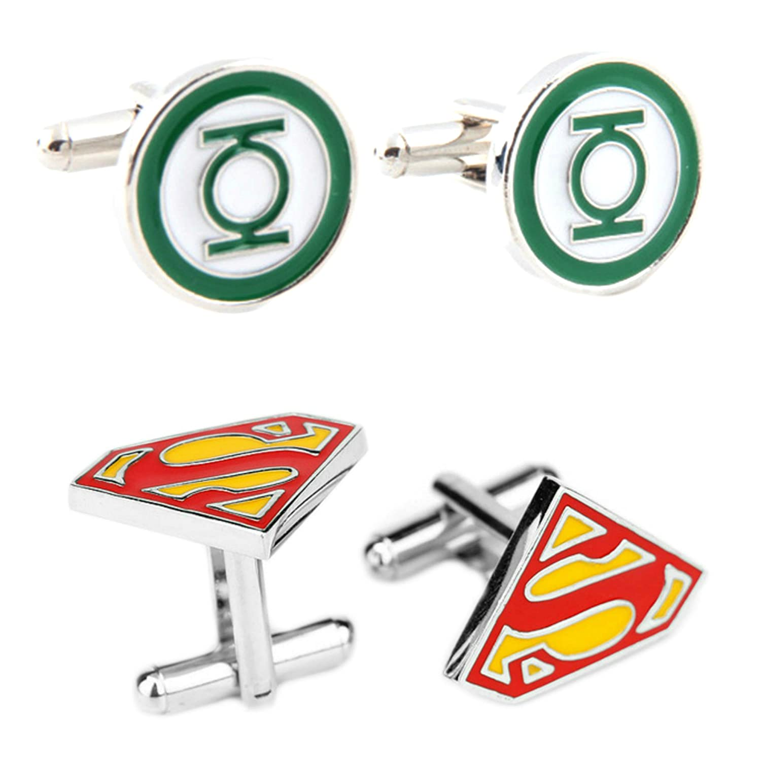 Outlander Gear DC Comics 2 Pairs The Green Lantern & Superman 2018 Movie Logos - Wedding Groom Groomsmen Mens Boys Cufflinks