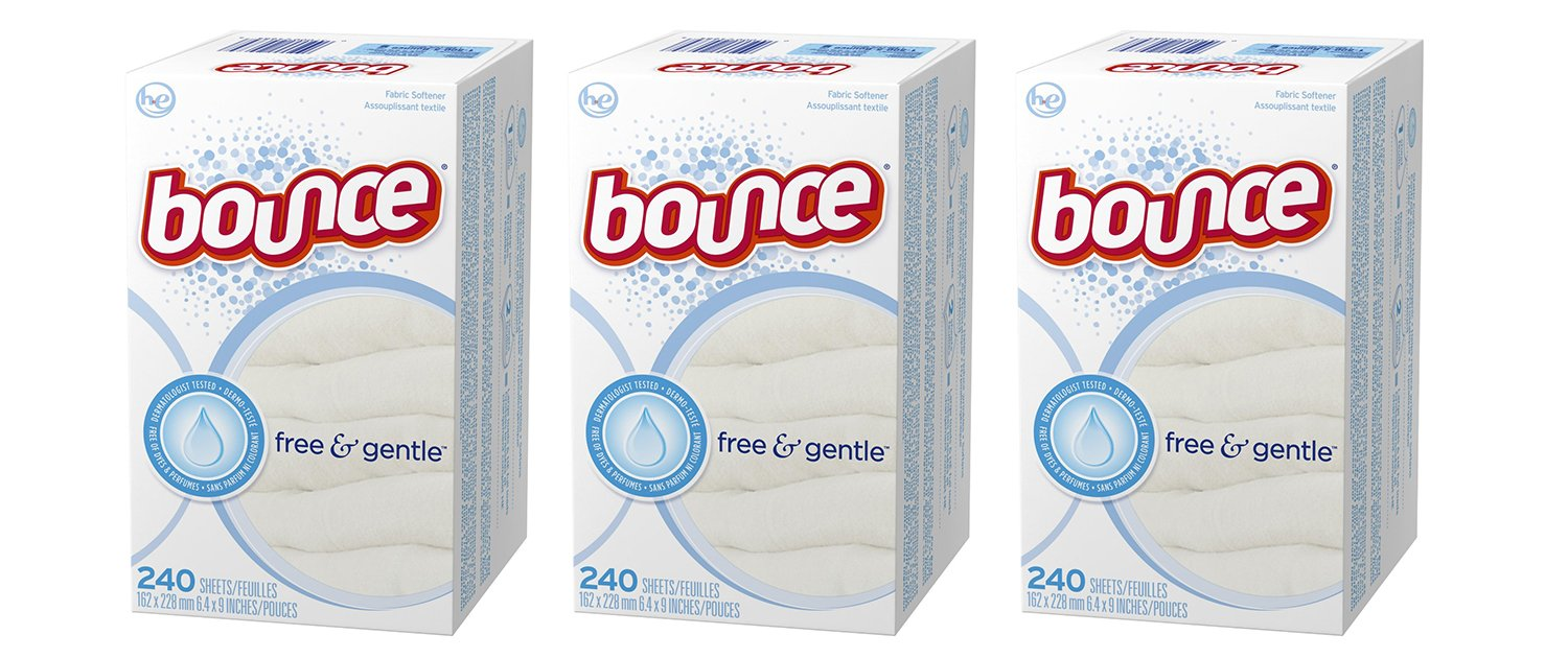 Bounce Fabric Softener EskrV Dryer Sheets Free & Gentle, 240 Count (3 Pack)