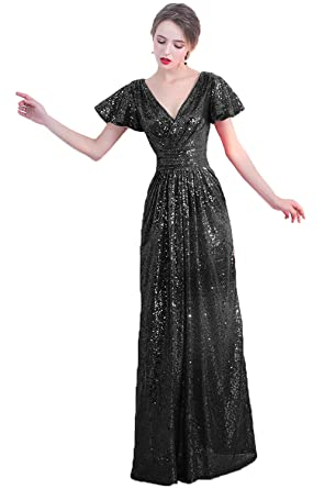 Hear Womens Sparkly V Neck Prom Dresses Long Plus Size Evening