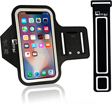 with Reflective Strap + Key//Card//Headphone Slots Sweatproof Sports Arm Phone Holder for iPhone 11 iPhone XS Max//XS//XR//8 Plus//Samsung S9+//S8+ HyAdierTech Running Armband for Jogging Cycling Hiking