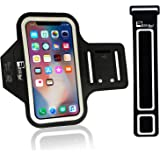 iPhone X/10 Running Armband with Full Screen Access. Sports Arm Phone Case Holder for Runners, Exercise, Gym Workouts & Outdoor Fitness (Small - Large Arms)