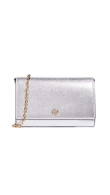5a3946fac3a Amazon.com  Tory Burch Women s Robinson Metallic Chain Wallet ...