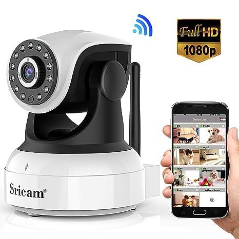Sricam Cámara IP 1080P, Cámara Vigilancia WiFi Interior Inalámbrico, con Micrófono y Altavoz, Visión Nocturna, Detección de Movimiento, Seguridad para ...