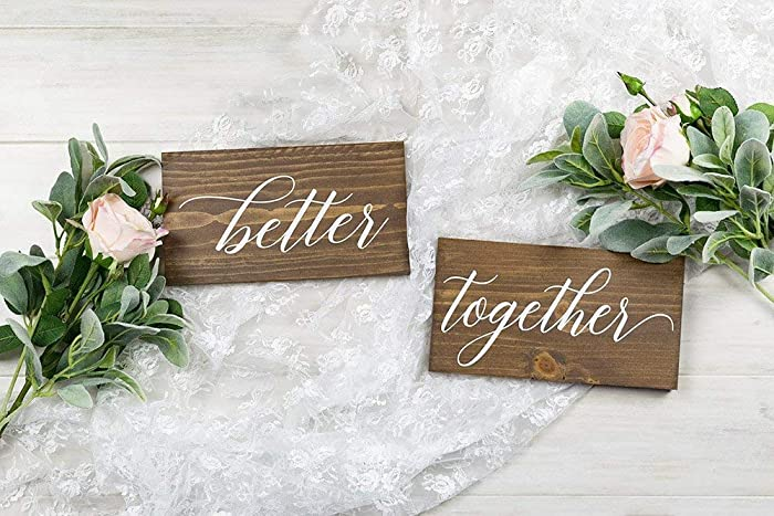 Amazoncom Better Together Wedding Chair Signs Rustic