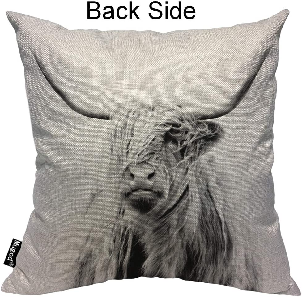 Mugod Cow Decorative Throw Pillow Cover Case Portrait Of A Highland Cow Cattle Ox Horn Hairy Grey White Cotton Linen Pillow Cases Square Standard Cushion Covers For Couch Sofa Bed 18x18