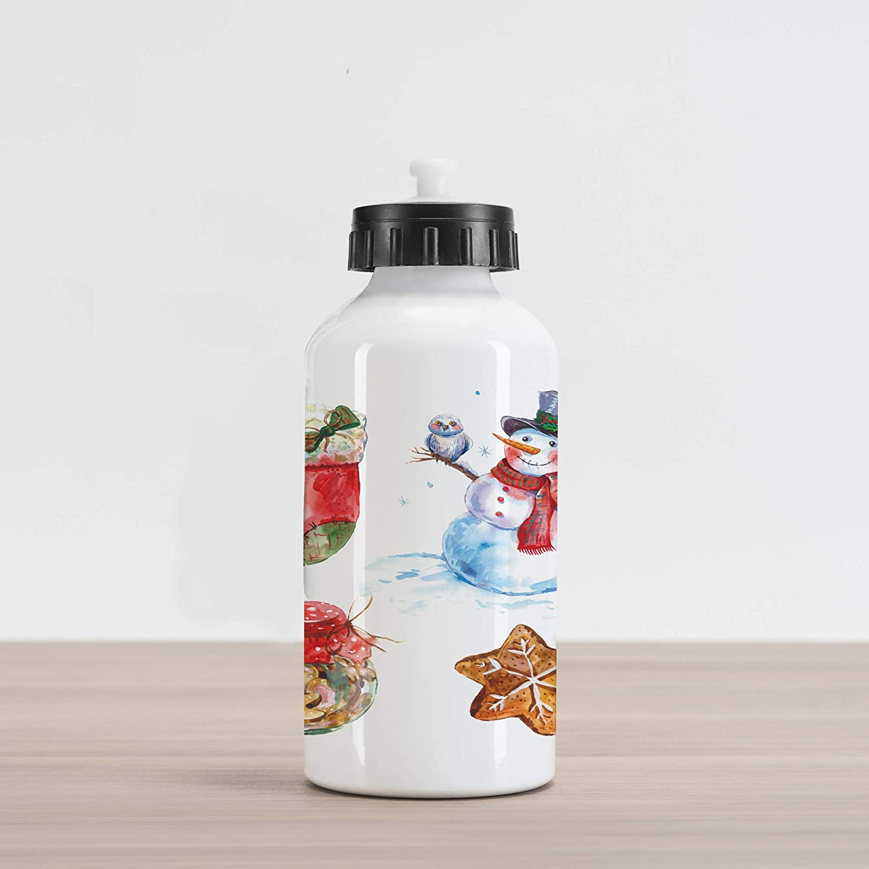 Ambesonne クリスマスアルミ水筒 水彩 クリスマス アイコン 雪だるま フクロウソックス ジンジャーブレッドクッキー アルミニウム断熱 こぼれ防止 旅行 スポーツ 水筒 レッド ダークオレンジ ペールブルー   B07NSTJKK8