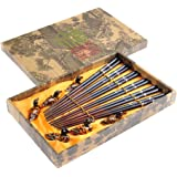 """Abacus Asiatica: """"Black Dragonfly"""" elegant chopstick set, carved-wood chopsticks in decorative box (6 pairs of chopsticks with rests),Mod. CB-S6-G-H05 (US)"""
