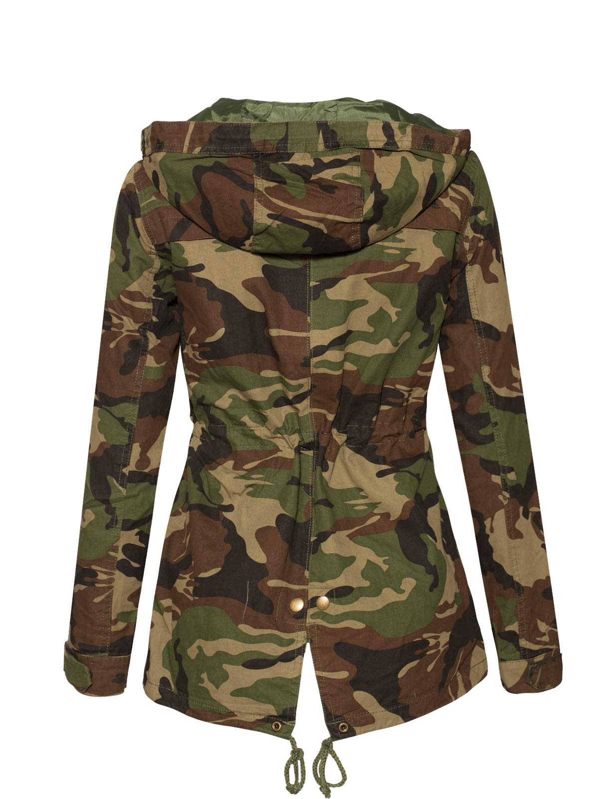 Instar Mode Women's Anorak Safari Hoodie Jacket up to Plus Size Olive Camo L