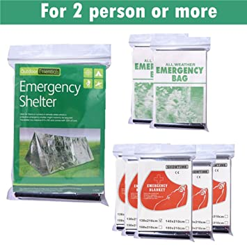 8 Pieces Emergency Blanket Kit 2 Sleeping Bags 5 Emergency Blankets 1 Shelter Tent For Outdoors  sc 1 st  Amazon.com & Amazon.com : 8 Pieces Emergency Blanket Kit 2 Sleeping Bags 5 ...