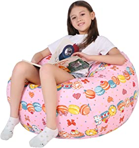 Lukeight Stuffed Animal Storage Bean Bag Chair for Kids, Zipper Storage Bean Bag for Organizing Stuffed Animals, Donuts Bean Bag Chair Cover, (No Beans) Large