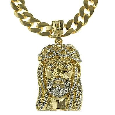 Amazon iced out jesus piece pendant gold finish 33 chain cuban iced out jesus piece pendant gold finish 33quot chain cuban link 15 mm hip mozeypictures Images
