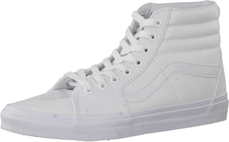 | Vans Men's Sk8-Hi Skate Shoe (12 B(M) US Women / 10.5 D(M) US Men, True White Canvas) | Skateboarding