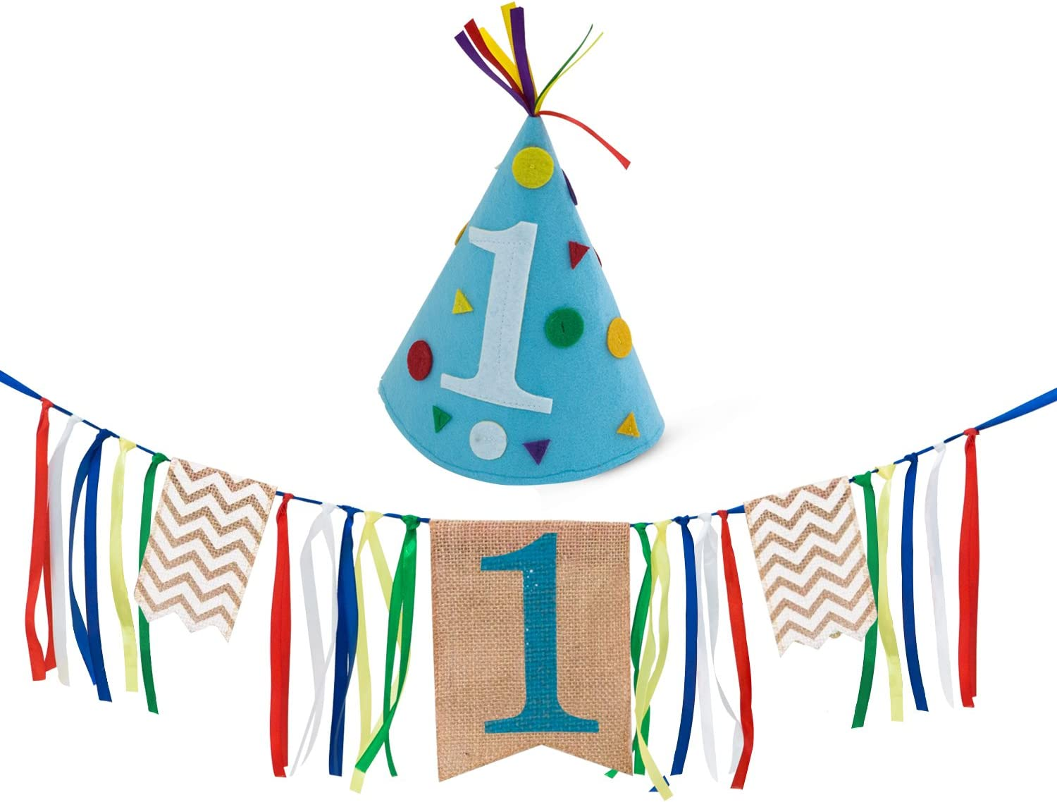 Sterling James Co 1st Birthday Burlap Highchair Banner and Felt Hat Pack Boy First Birthday Decorations