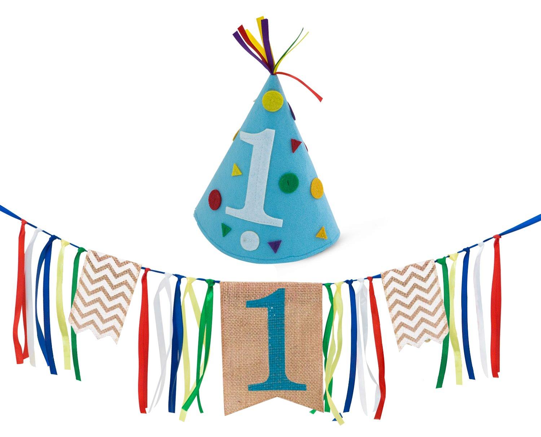 Sterling James Co. Decoración para el Primer Cumpleaños de un Niño – 1er Cumpleaños – Paquete de Letrero en Arpillera para Silla Alta y Sombrero de ...