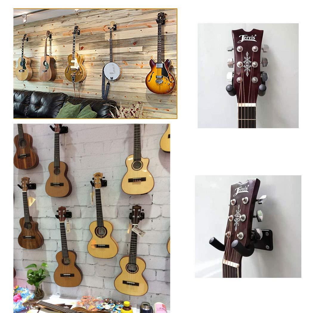 4pack Guitar hanger Guitar hook Guitar holder Guitar wall mount hangers for Electric Acoustic and Bass Guitars 2 Pack Metal Square