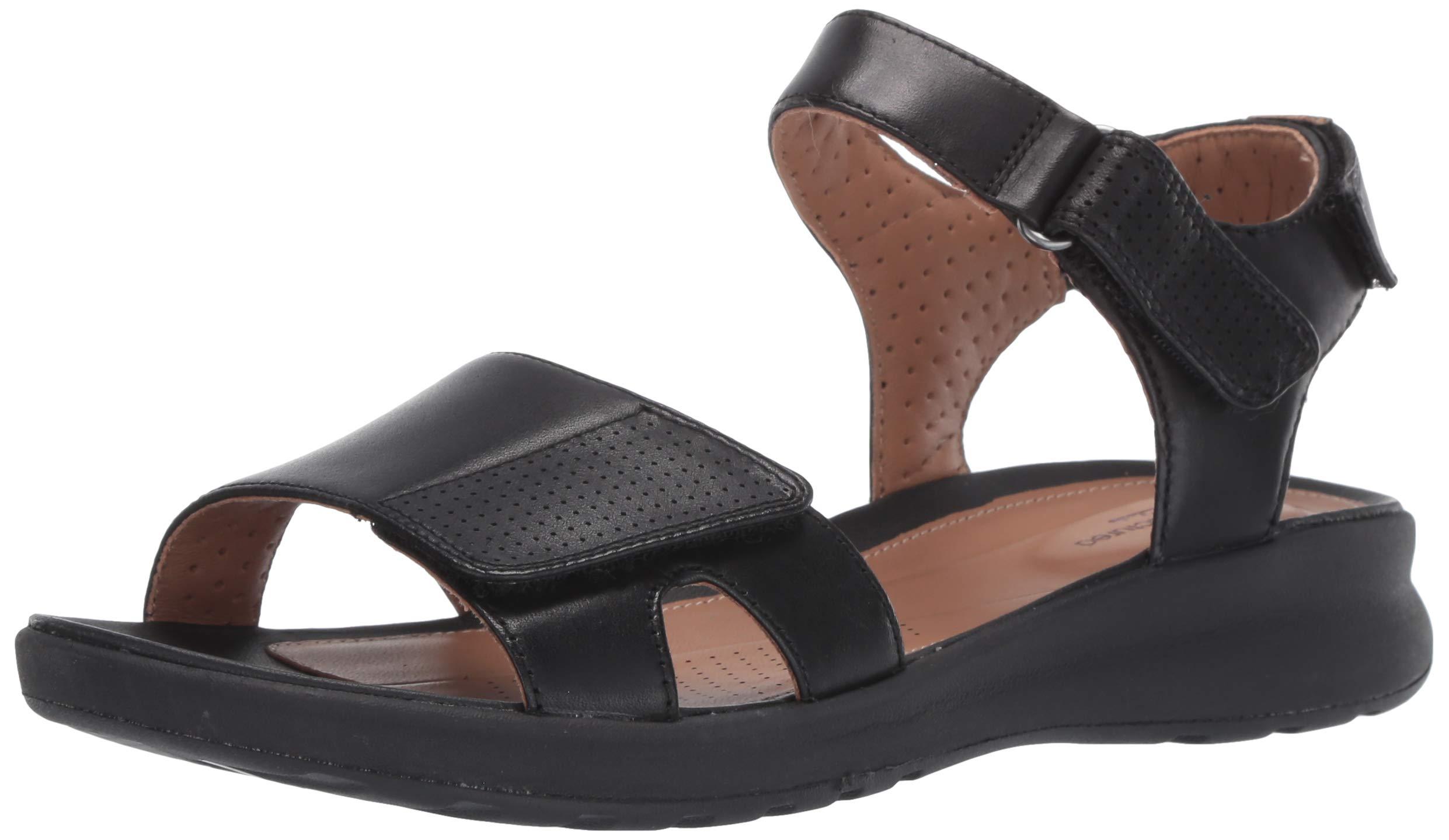 CLARKS Women's Un Adorn Calm Sandal, Black Leather, 55 M US by CLARKS