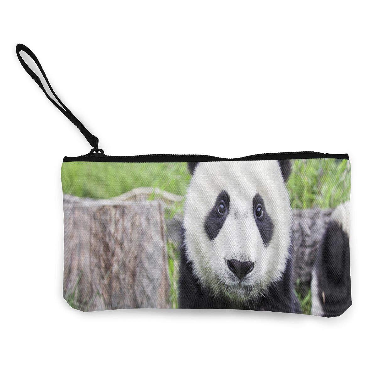 Coin Purse Cute Black And White Panda Ladies Zipper Canvas Purses TravelDesigner Bag