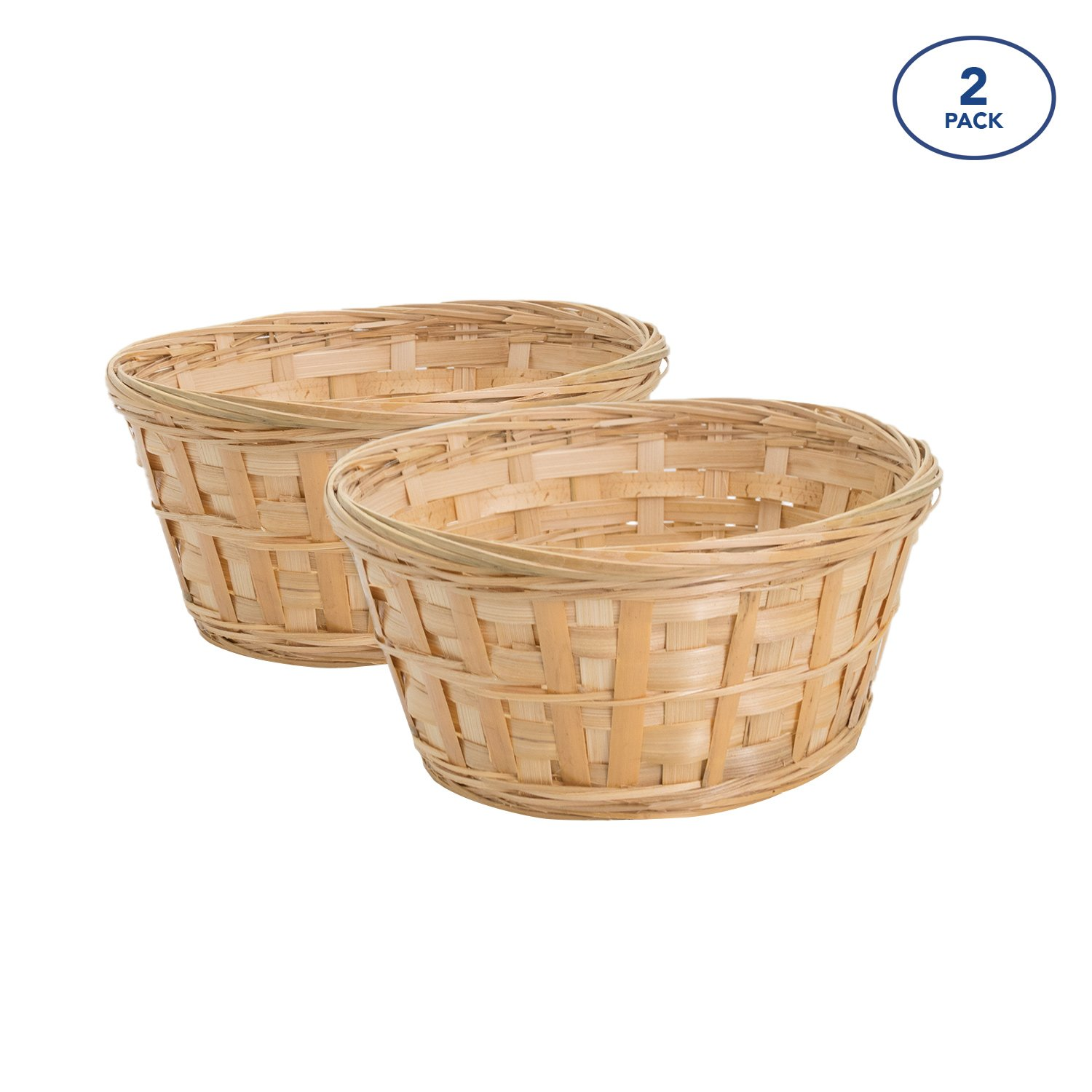 Royal Imports 8'' Round Natural Bamboo Handwoven Bread Basket 4''x8'' Braided Rim, Pack of 2