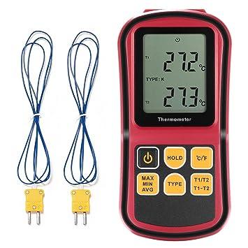 Termometro Termopar GrandBeing Termómetro Digital Medidor de Temperatura Profesional con Doble Termopares de Tipo K para Hogar e Industria: Amazon.es: ...