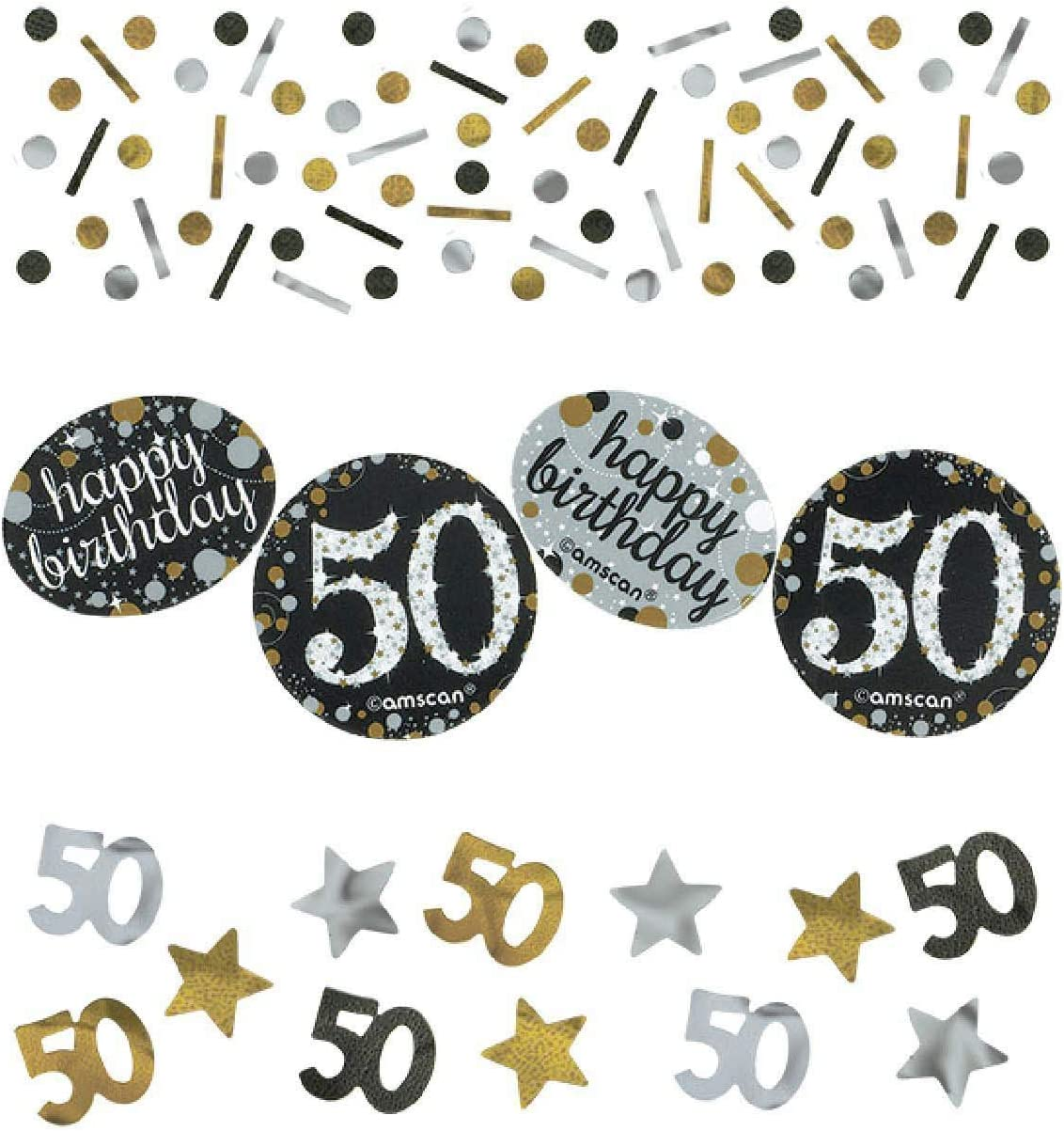 14 g, 50 a/ños Confeti para decoraci/ón de mesa color dorado Gifts 4 All Occasions Limited SHATCHI-171