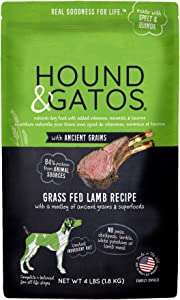 Hound & Gatos Natural Dry Dog Food, Grass Fed Lamb with Ancient Grains, Made in the USA