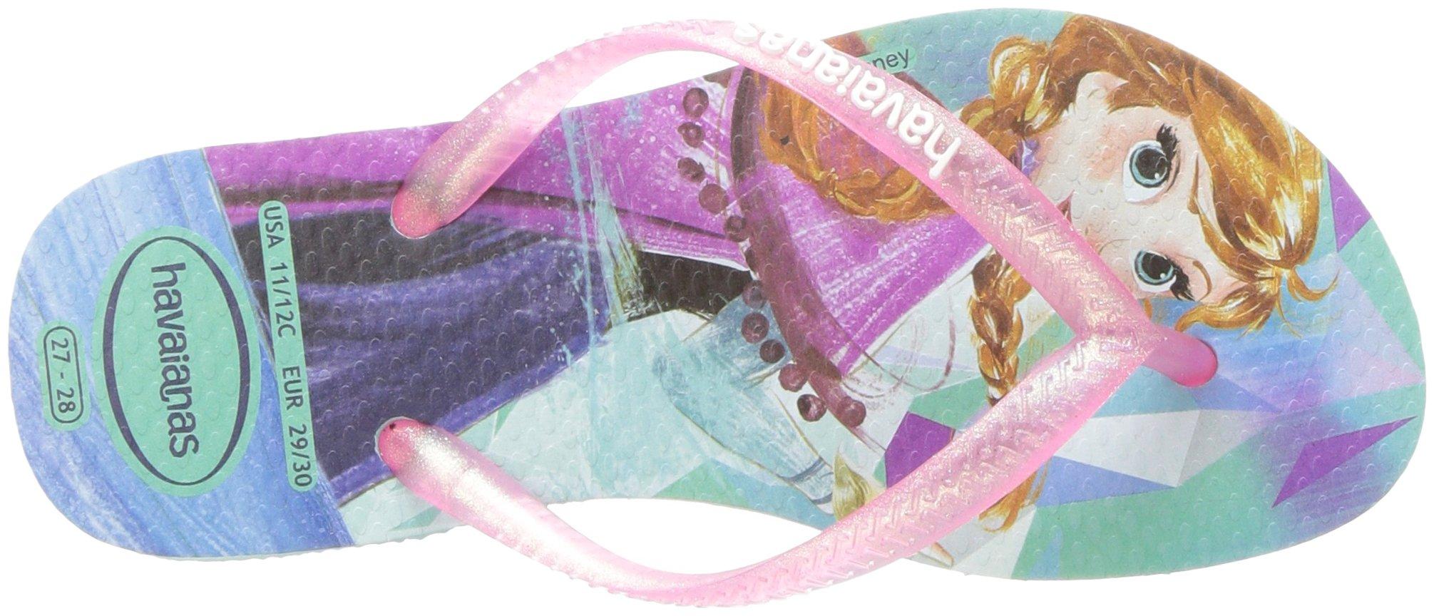 Havaianas Girls Slim Flip Flop Sandals, Kids, Frozen, Elsa & Anna,Green/Pink,25/26 BR (10 M US Toddler) by Havaianas (Image #8)