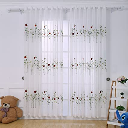 Suppromo 3D Embroidered Sheer Tulle Curtains For Kids Bedroom Living Room W 51 Inchx