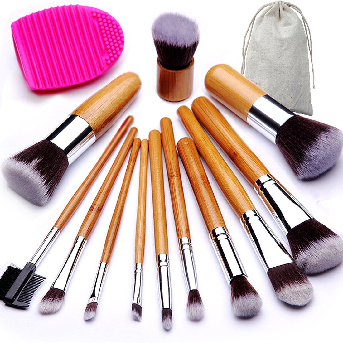 BEAKEY Makeup Brush Set Bamboo Handle Premium Synthetic Kabuki Foundation Blending Blush Eyeshadow Concealer Powder Brush with 1 Brush Egg & 1 Cloth Bag (12+2 Pcs)