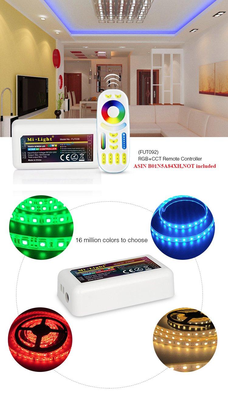 Amazon com: Pack Of 2 Mi Light RGB+CCT LED Strip Light 2 4GHz RF