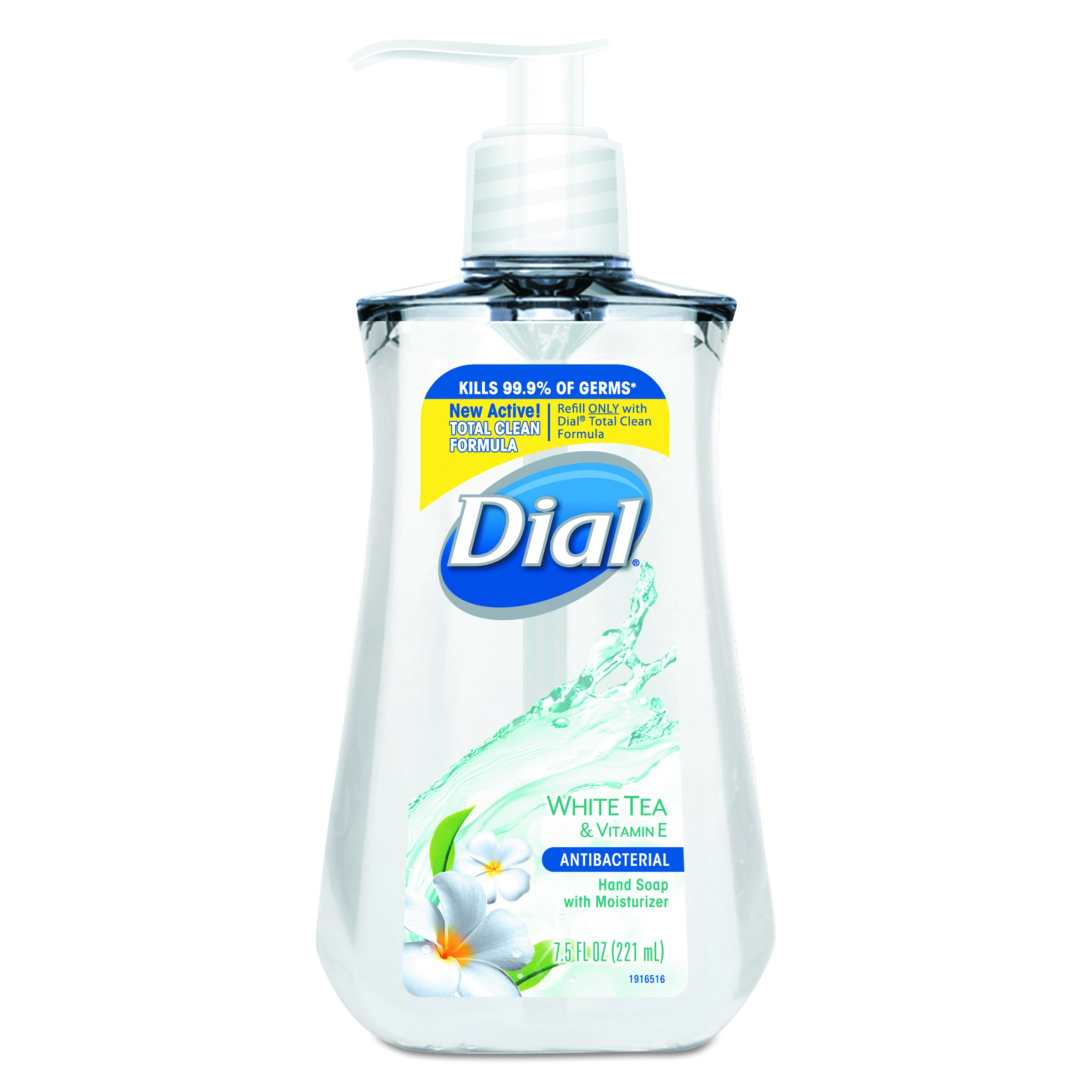 Dial 02660CT Antimicrobial Liquid Soap, 7 1/2 oz Pump Bottle, White Tea (Case of 12)