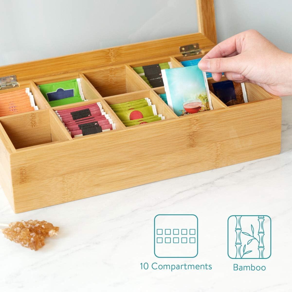 Ventana Transparente 9 Compartimentos Caja organizadora de bamb/ú para infusiones Caja con Tapa Caja de Madera para bolsitas de t/é