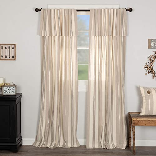 Grayson Panel Curtains with Attached Valance, Set of 2, 84 Long, Gray, Black Cream Striped Urban Farmhouse Style Bedroom Window Drapes