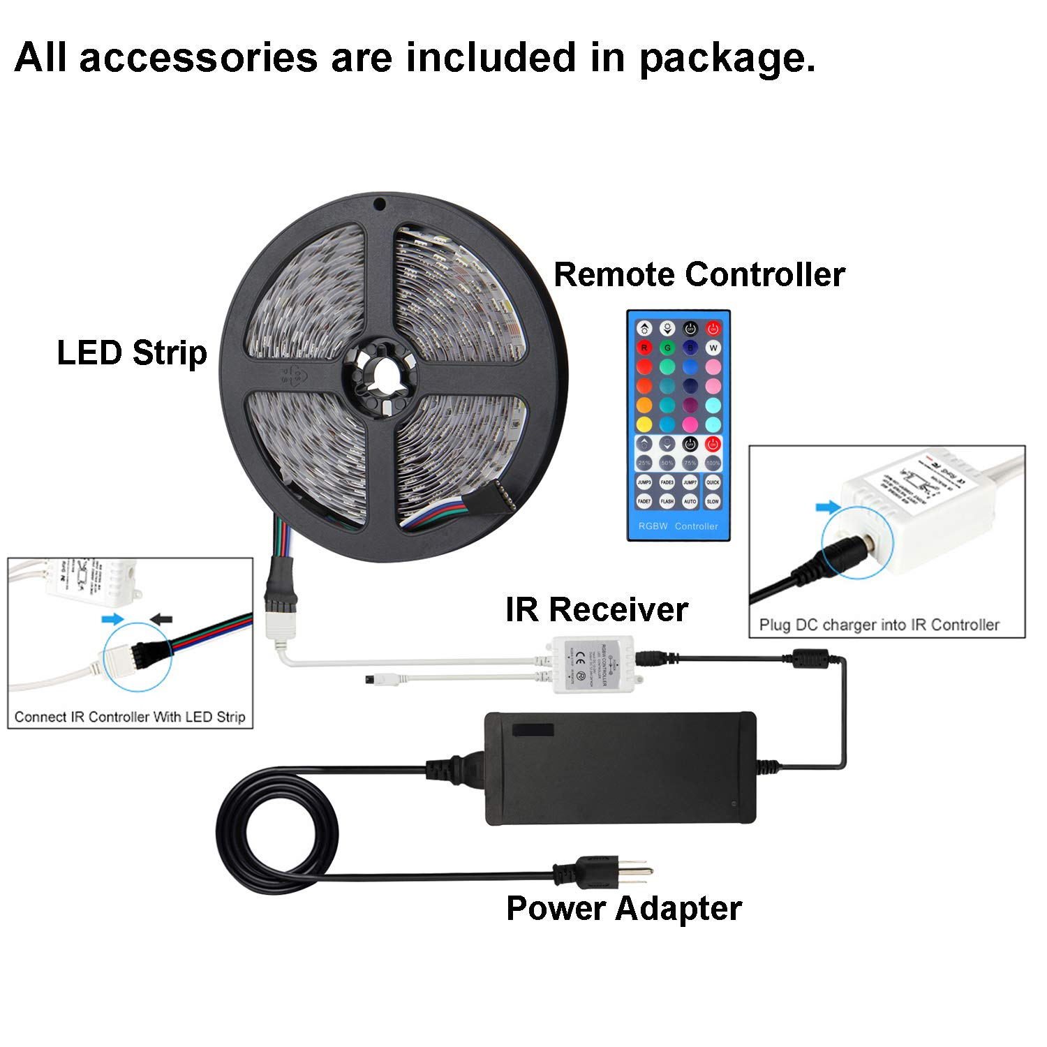 Supernight Led Light Strip White Rgb Quick Adapter Wiring Connector Multi Color 5050smd All In One Flexible 164ft Smd5050 Dc12v 300leds Rgbw Rope