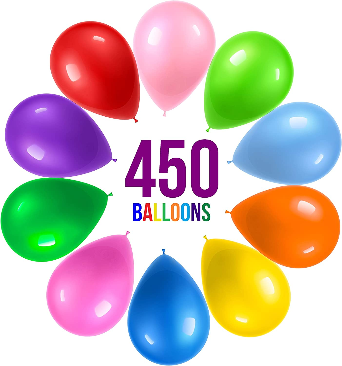 Amazon.com: Prextex 450 Party Balloons 12 Inch 10 Assorted Rainbow Colors -  Bulk Pack of Strong Latex Balloons for Party Decorations, Birthday Parties  Supplies or Arch Decor - Helium Quality: Toys & Games