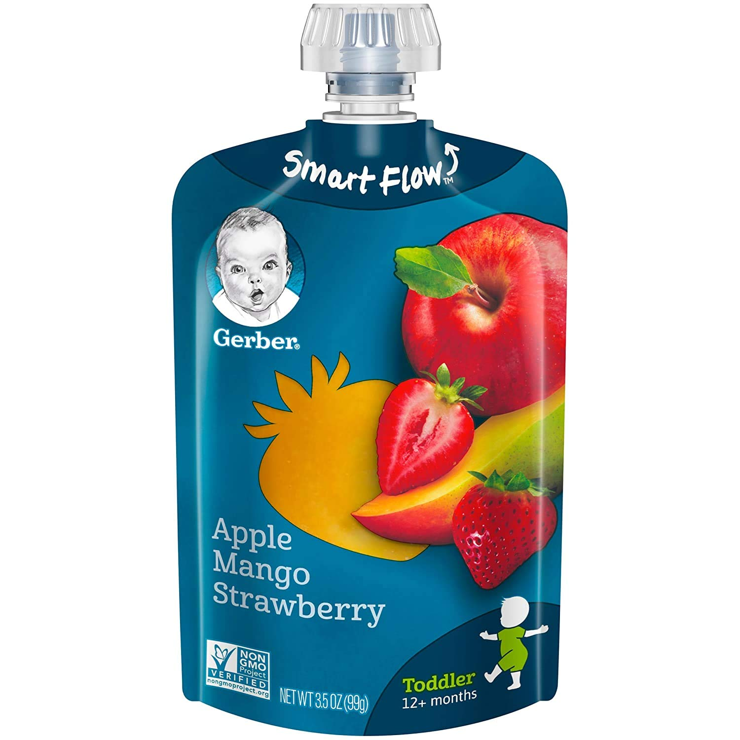 Gerber Purees Apple Mango Strawberry Toddler Baby Food Pouches, 3.5 oz