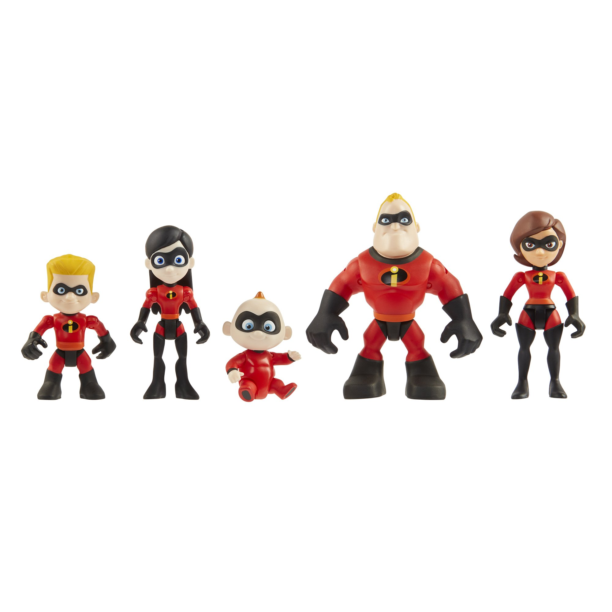 The Incredibles 2 Family 5-Pack Junior Supers Action Figures, Approximately 3'' Tall