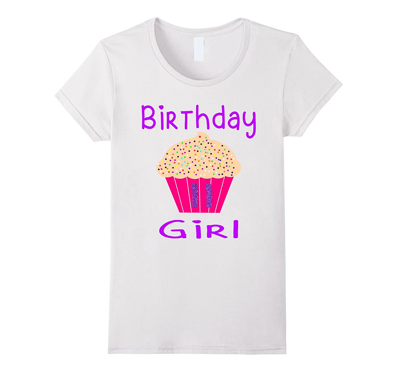 Birthday Girl 11th Birthday T-Shirt - Cupcake Glitter Shirt-CL