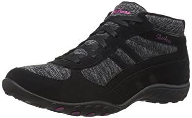 Skechers Sport Women's Breathe Easy Shout Out Fashion Sneaker,Black  Suede/Black/Gray