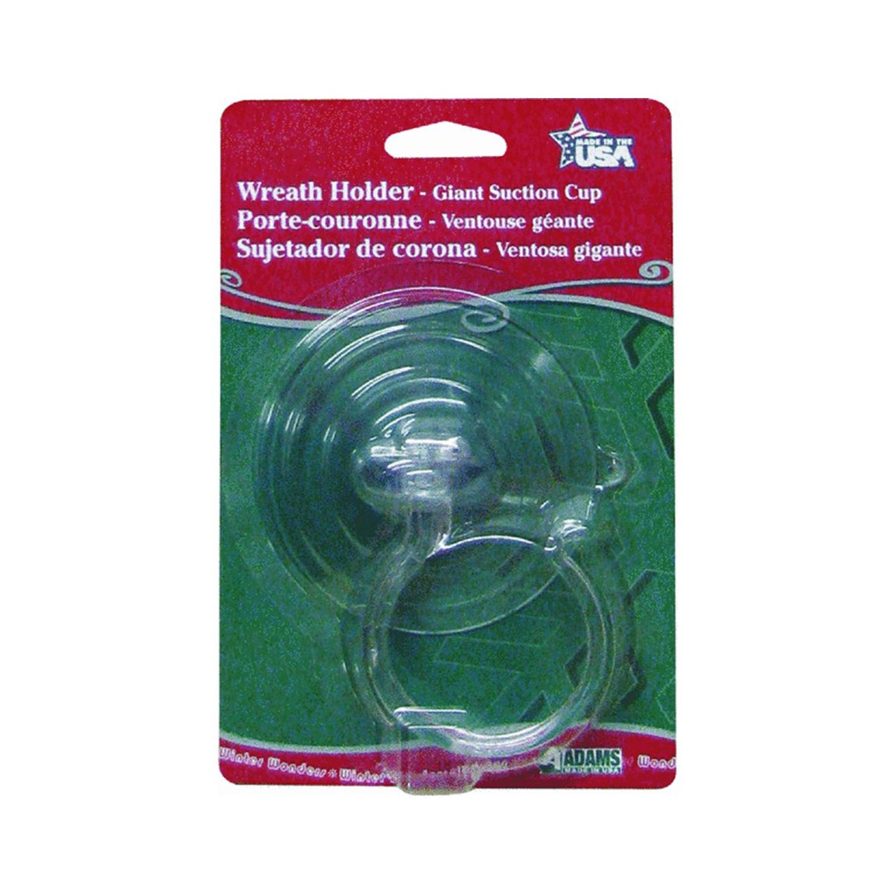 Adams Suction Cup Wreath Holder Holds for up to 10 Lbs, Clear, Pack of 4