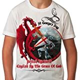 BANG TIDY CLOTHING St George's Day T Shirts for Boys British by Birth All Over Print Kids T Shirt Graphic Printed Boys Tees Saint Georges Day Sublimation English Tshirt